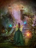 In the Fairy Garden at Night by Euselia
