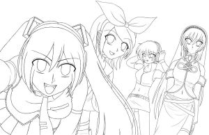 Lineart - Miku and Friends by PrincessAirionna565