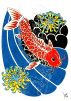 Koi and flowers 03 -coloured- by dfmurcia