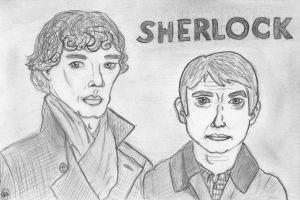 Sherlock and John - a present for a friend by DarkMysteryCat