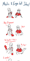 Medic and Engie Tell Bad Jokes by JelloApocalypse
