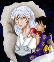 Sesshomaru Holds Rin by Dawnchaser