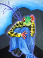Red eyed tree frog thoughts by KellyHalloran