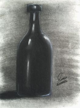 Black Bottle (Charcoal Drawing) by Argama