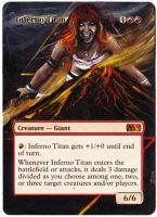 Magic The Gathering Alteration: Inferno Titan by Ondal-the-Fool
