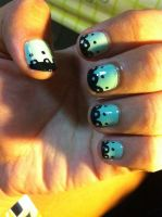 Mint Green Nails with Black Nail Art by inginging