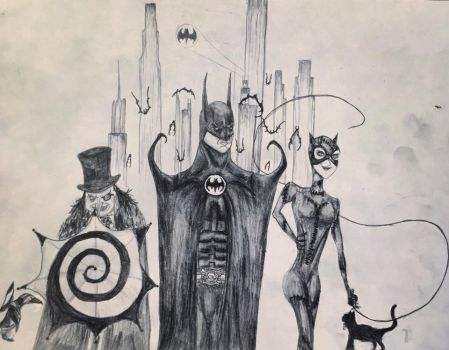 25th Anniversary Tribute Drawing to Batman Returns by Kongzilla2010