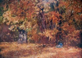 Autumn Folly - Oil Painting by AstridBruning