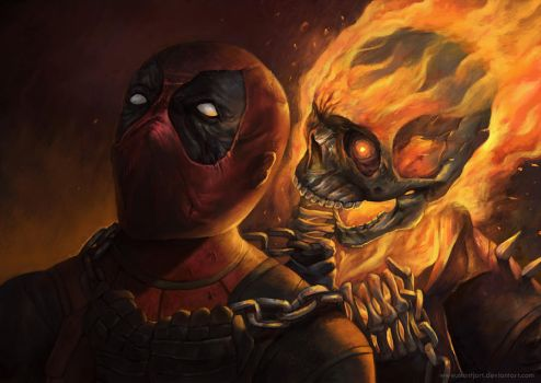 Deadpool vs Ghost rider by Montjart