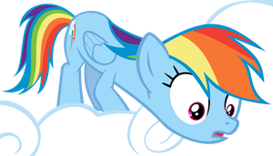 Rainbow Dash Looking Down From A Cloud Vector by WizE-KevN