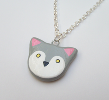 Gray Wolf Necklace by MariposaMiniatures