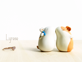 Hamtaro and Bijou Polymer Clay Cake Toppers by lyrese