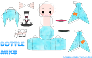Bottle Miku Papercraft by Tamuu-ii