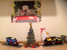 My Mini Christmas Tree And Decorated Lego Train by alexartchanimte7