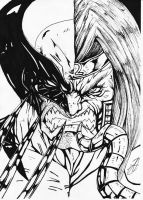 wolverine-omega-red bw ink by darkartistdomain