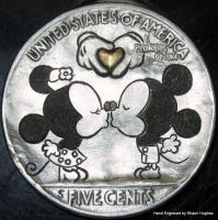 Hand Engraved Minnie and Mickey 22ct Gold Heart by shaun750