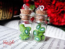Earrings - Bottles with kiwi by Benia1991