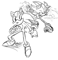 sketches Sonic and Shadow by sonicboom53