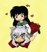 Chibi InuYasha and Kagome by Aradia617