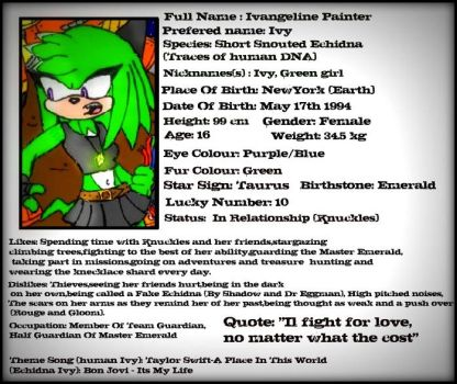 Ivy Echidna Data Files by GreenBlood12354