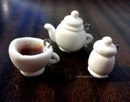 Teapot, cup of coffe and container for sugar by karmen1611