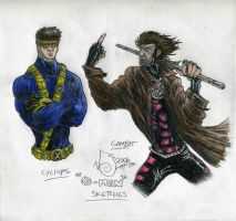 x men sketches in color by nickybeats