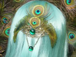 Peacock Empress - Hairclip by Ganjamira