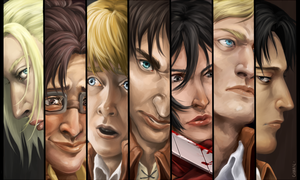 Shingeki No Kyojin - Faces by Ciorane