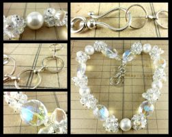 Silver Pearl Crystal Cluster Necklace by DryGulchJewelry