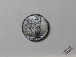 100 lire coin DRAWING by Marcello Barenghi by marcellobarenghi