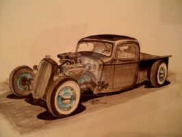 'pure Hell' hot rod drawing by prestonthecarartist