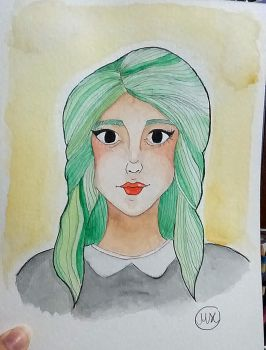 Green hair Watercolor by hidingmymess
