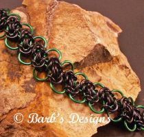 Black And Green Aluminum Chainmaille Bracelet by Barbsdesigns