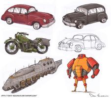 Sketch Dump - Vehicles And A Robot by davi-escorsin
