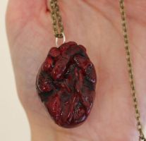 Polymer Clay anatomical heart necklace by ChroniclesOfKate