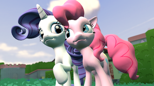 Pinkie and Rarity by Hellhounds04