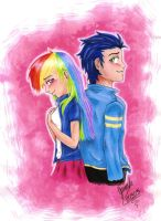 Rainbow Dash and Soarin human by janadashie