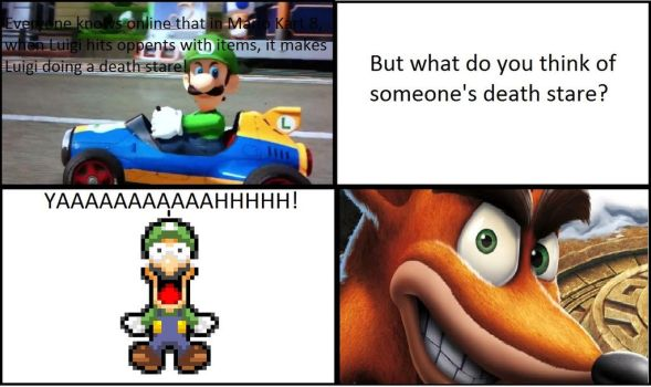 Luigi's Reaction to Crash Bandicoot's Death Stare! by KevinSolano