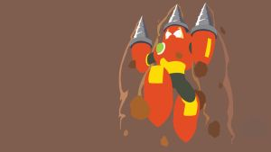 Drill Man Minimalist Wallpaper by Oldhat104