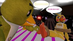 Toy Chica's Ticklish Revenge. Turned table 2. by Therubyminecart