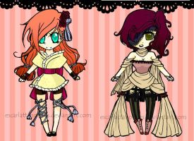 :ADOPTABLES: Cute girls CLOSED by EscarlattaNoTales