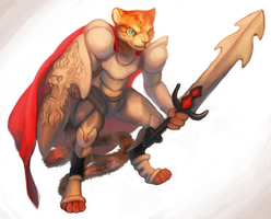 Commision -  crusader cat dude by mercurybird
