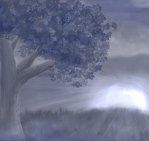 Random blu tree by Sabusha-Sabs