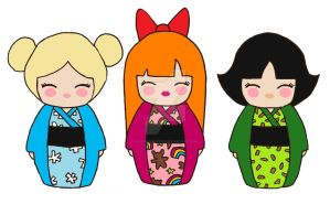 Powerpuff Girls Kokeshi by kaoshoneybun