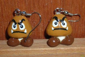 SUPer MarIO GooMBa EarriNGs by jnsun