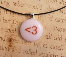 Heart Emoticon Fused Glass Pendant by FusedElegance