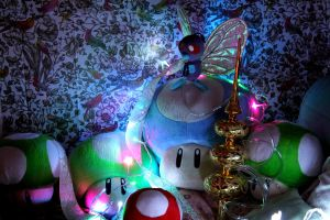 The Caterpillar (butterfly) upon a mushroom by harriscraft