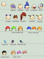 MapleStory Sprites: Heads and Tails by chasz-manequin