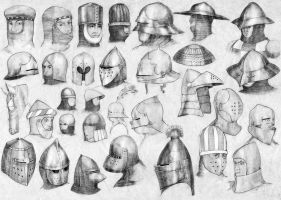 Medieval helmets (1) by Nomatterwhat1984