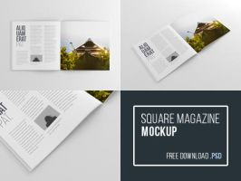 Square Magazine Mockup - PSD by blugraphic